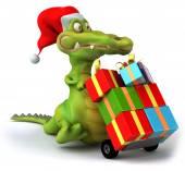 Fun crocodile with gifts — ストック写真