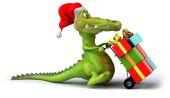 Fun crocodile with gifts — Stock Photo