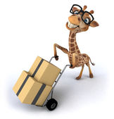 Giraffe with boxes — Stock Photo