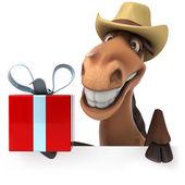 クリスマスのギフトを持つ馬 — ストック写真