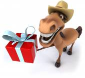Horse with christmas gift — Stock Photo