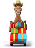 Horse with christmas gifts — Stock Photo