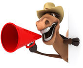Horse with megaphone — Stock Photo