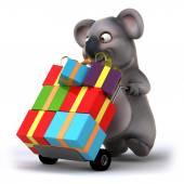Koala with christmas gifts — Stock Photo