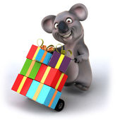 Koala with christmas gifts — Stock Photo