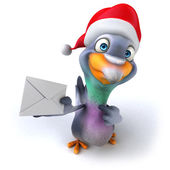 Pigeon in christmas hat — Stock Photo