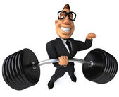 Businessman with barbell — Stockfoto