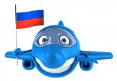 Plane with russia flag — Stock Photo