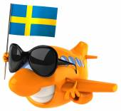 Plane with sweden flag — Stock Photo