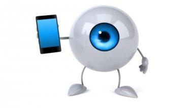Eyeball with  phone — Stock Video