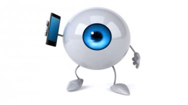 Eyeball with  phone — Stock Video