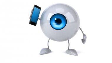 携帯電話で眼球します。 — ストックビデオ