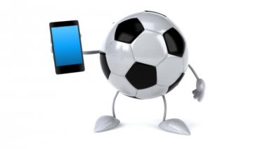 Soccer ball with phone — Stock Video