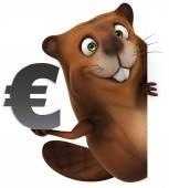 Beaver euro sign — Stock Photo