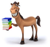Horse with books — Stock Photo