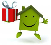 House with gift — Stock Photo
