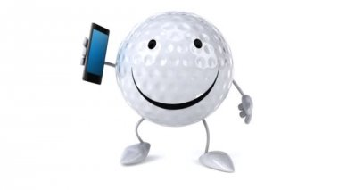 Golf ball with phone — Stockvideo