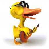 Duck with sunglasses — Stock Photo