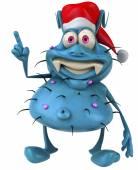 Mikrop Noel şapka ile — Stok fotoğraf
