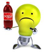 Light bulb with soda — Stock fotografie
