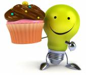 Light bulb with cupcake — Foto Stock