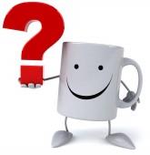 Mug with question symbol — Stock Photo