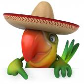 Parrot with sombrero — Stock Photo