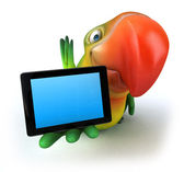 Parrot with tablet — Stock Photo