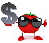 Tomato with dollar sign — ストック写真