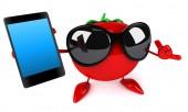 Tomato with phone — Stock Photo