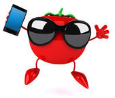 Tomato with phone — Foto Stock