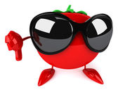 Tomato with sunglasses — Stock Photo
