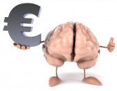 Brain with euro sign — Stockfoto
