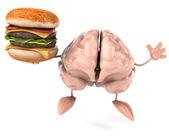 Brain with hamburger — Stock Photo