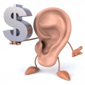 Ear with dollar sign — Stock Photo