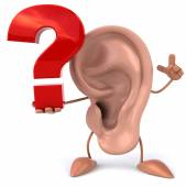 Ear with question sign — Stock Photo