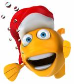 Fish with christmas hat — Stock fotografie