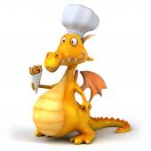 Dragon with cook hat — 图库照片