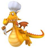 Dragon with cook hat — Stock Photo