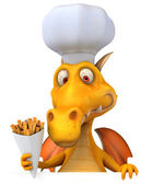 Dragon with cook hat — Stockfoto