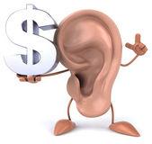 耳朵与美元符号 — 图库照片