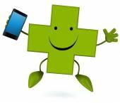 Farmacia cruz con teléfono — Foto de Stock