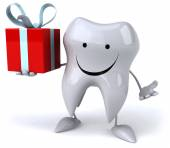Tooth with gift — Foto de Stock
