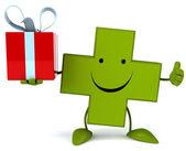 Pharmacy cross with gift — Foto de Stock