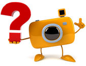 Camera with question sign — 图库照片