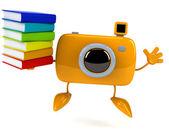 Camera with books — ストック写真