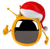 Television with Christmas hat — Stock Photo