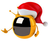 Television with Christmas hat — Foto Stock