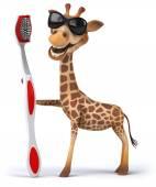 Giraffe with toothbrush — 图库照片