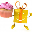 Gift with cupcake — Stock Photo #54787435